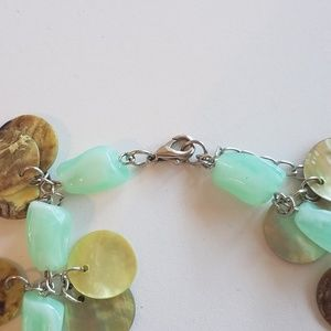 Green Bead and Shell Necklace